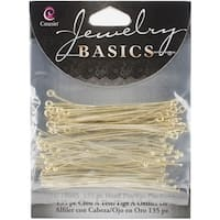 Jewelry Basics Metal Findings 135/Pkg-Gold Head & Eye Pins - GOLD