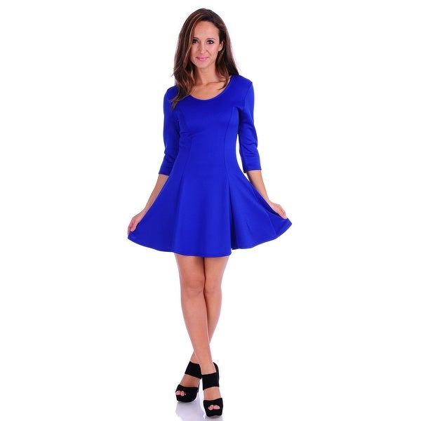 Simply Ravishing Women's 3/4 Sleeve Solid Stretch Knit Fit Flare Dress