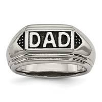 Chisel Stainless Steel Black Enamel Dad Ring (5 mm)