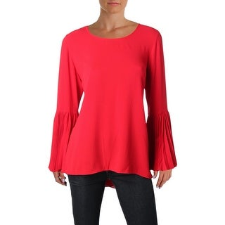 Vince Camuto Womens Petites Blouse Pleated Bell Sleeve