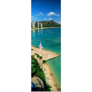 """Aerial view of a beach, Diamond Head, Waikiki Beach, Oahu, Honolulu, Hawaii"" Poster Print"