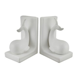 Flora and Fauna White Baby Whale Ceramic Bookend Set