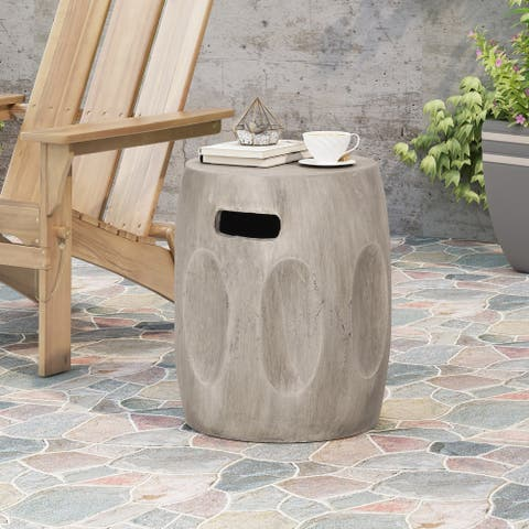 "Ursa Outdoor Contemporary Lightweight Concrete Accent Side Table by Christopher Knight Home - 15.75""W x 15.75""D x 18.00""H"