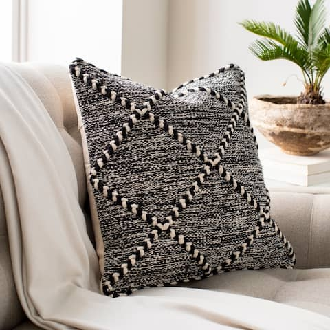 The Curated Nomad Pyrola Handwoven Black & White Boho Throw Pillow