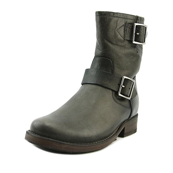 Frye Vicky Engineer Women Round Toe Leather Gray Ankle Boot