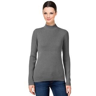 Karen Scott Ribbed Mock Turtleneck Sweater Top