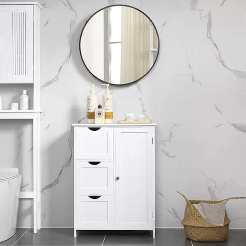 White Floor Cabinet with 3 Large Drawers and 1 Adjustable Shelf