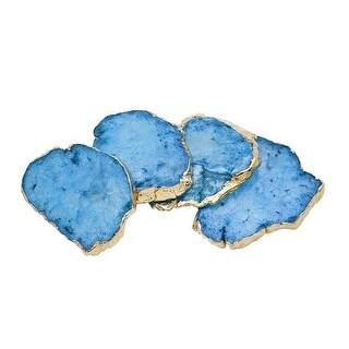 Godinger 16604 Blue Quartz Coasters Brasa Edge - Set of 4