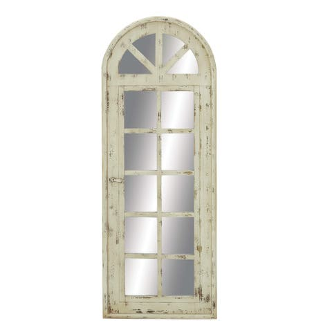 "Tall Wooden Arched Window Frame Wall Mirror With Antique White Finish 20"" X 53"" - 20 x 1 x 53"