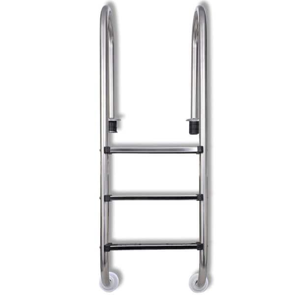 Shop vidaXL Pool Ladder w/ 3 Non-slip Steps Stainless Steel ...