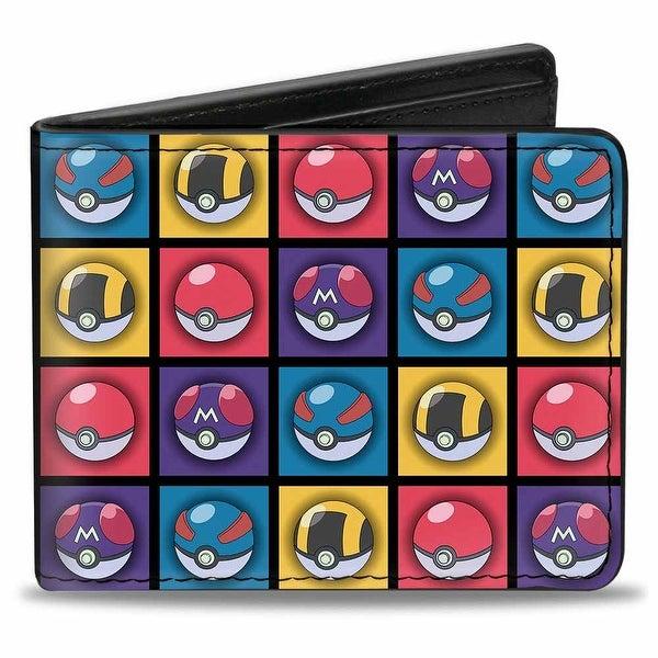 4 Pok Ball Blocks Repeat Black Multi Color Bi Fold Wallet - One Size Fits most
