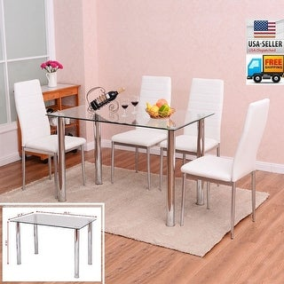 Link to Faux Leather/ Glass 5-piece Kitchen Dining Set Similar Items in Dining Room & Bar Furniture