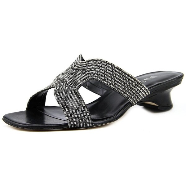 Vaneli Beyla Women Open Toe Leather Black Slides Sandal
