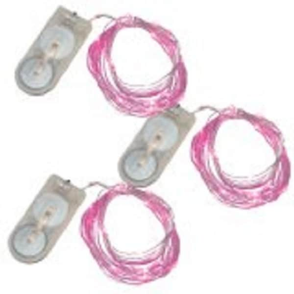 Set of 3 20 Battery Operated LED Pink Micro Rice Mini Rope Lights 76""