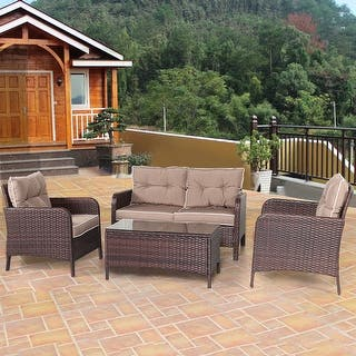 Costway 4 PCS Outdoor Patio Rattan Wicker Furniture Set Sofa Loveseat W   Cushions. Rattan Patio Furniture   Outdoor Seating   Dining For Less