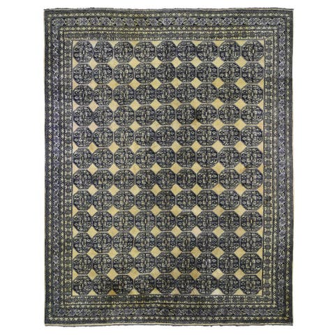 """Hand Knotted Yellow Tribal & Geometric with Wool Oriental Rug (11'3"""" x 14'4"""") - 11'3"""" x 14'4"""""""