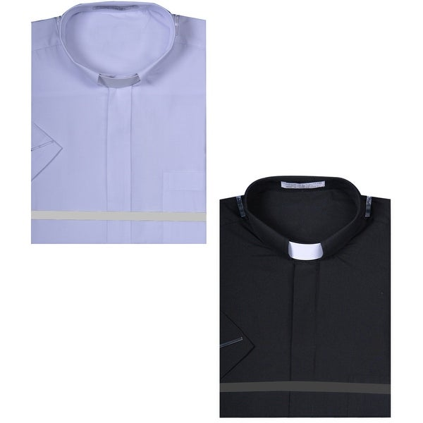 cb3c164ccba1c5 Shop Men's Short Sleeve Solid Color Tab Collar Clergy Shirt - Free Shipping  On Orders Over $45 - Overstock - 26301001