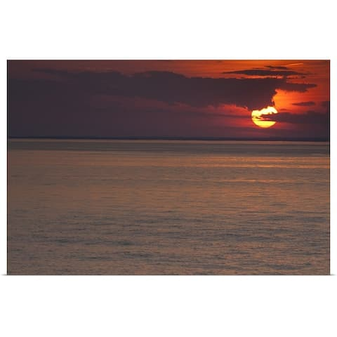 """""""Sunset over the sea, Long Island Sound, Orient Point, Long Island, New York S"""" Poster Print"""