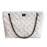 9d2ab1cd772 QZUnique Women s Rhombus Pattern Large Capacity Faux Fur Shoulder Handbag  Chain Tote Bag Crossbody Purse