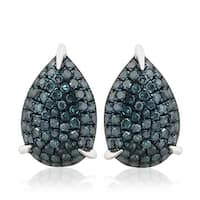 Fabulous 0.46Ct Round Brilliant Cut Blue Diamond Pear shaped Puffed Dome Screw Back Earring