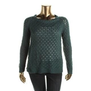 Cupio Womens Open Stitch Hi-Low Pullover Sweater