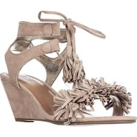 MG35 Haniya Fringe Wedge Sandals, Natural