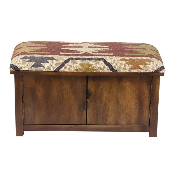 """Handmade Kilim Upholstered Storage Bench - 30"""" L x 14"""" W x 17"""" H. Opens flyout."""