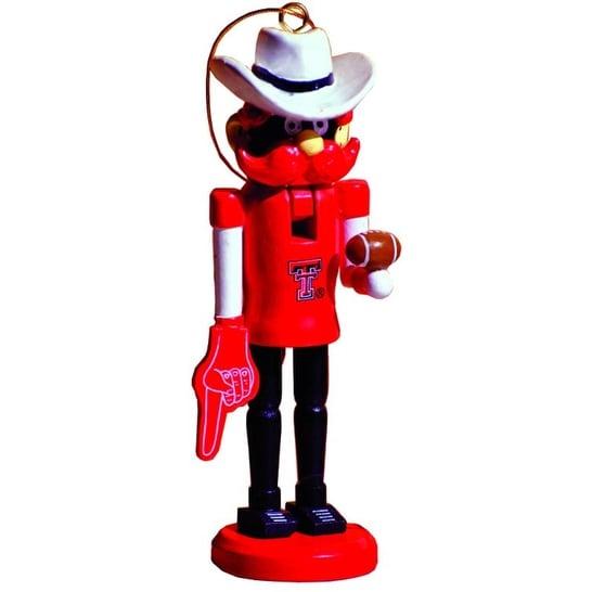"6"" NCAA Texas Tech Red Raiders Mascot Wooden Nutcracker Christmas Ornament"