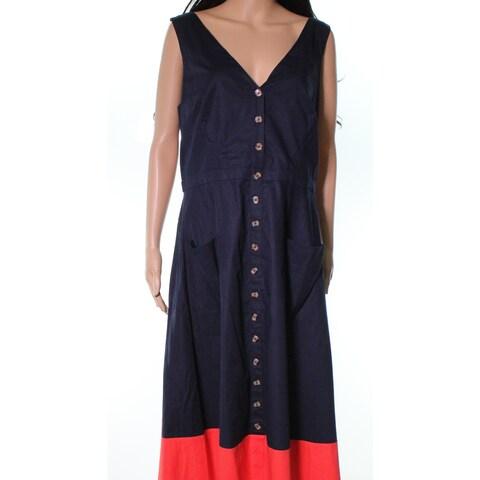 1901 NORDSTROM Blue Womens Size 16 V-Neck Colorblock Sheath Dress