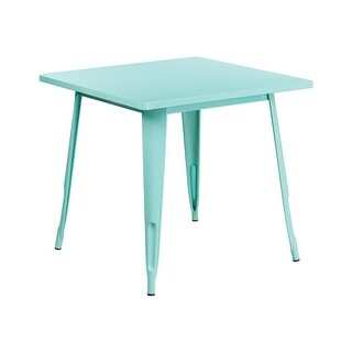 Offex 31.5'' Square Mint Green Metal Indoor-Outdoor Table