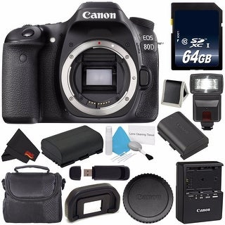 Canon EOS 80D DSLR Camera (Body Only) 1263C004 (International Version) + 64GB SDXC Class 10 Memory Card Bundle