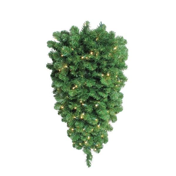 "36"" Pre-Lit Pine Artificial Christmas Column Swag - Warm White LED Lights - green"