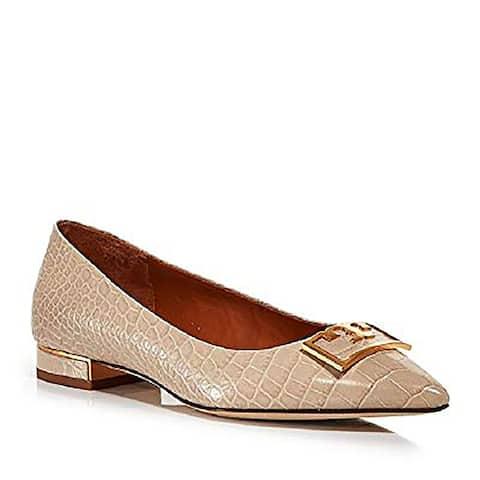 Tory Burch Womens Gigi Croco Emboss Pointy Toe Flat