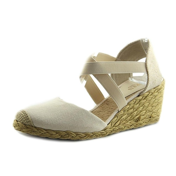 f39f107bf59 Shop Lauren Ralph Lauren Casandra Women Open Toe Canvas Ivory Wedge ...