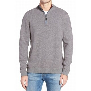 Tommy Bahama NEW Gray Red Mens Size XL Reversible 1/2 Zip Sweater