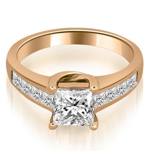 1.50 cttw. 14K Rose Gold Channel Princess Cut Diamond Engagement Ring,HI,SI1-2