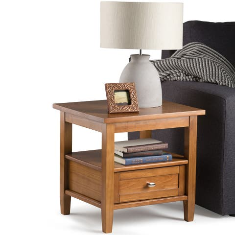 Wyndenhall Norfolk Solid Wood Rustic Side Table - 20 inch Wide - 20 inch Wide