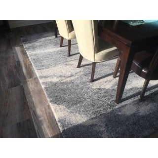 Mid-Century Modern Abstract Grey/ Ivory Rug - 8' x 10' - 8' x 10'