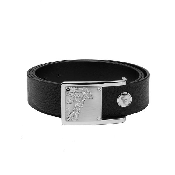 c022e5a78a72e Shop Versace Collection Men's Saffiano Leather Belt Black Steel Gold - Free  Shipping Today - Overstock - 25688150