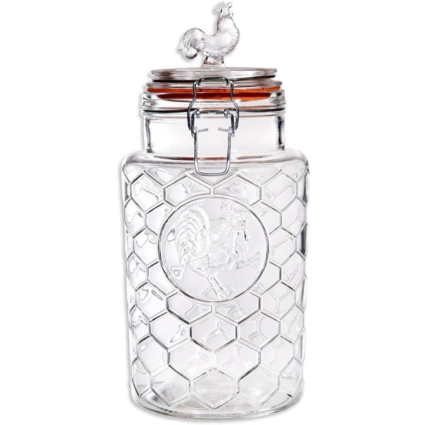 Palais 'Rooster' High Quality Clear Glass Canister with Bail & Trigger Locking Lids