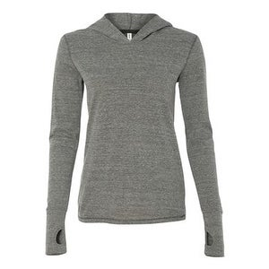 Women's Triblend Long Sleeve Hooded Pullover - Grey Heather Triblend - S