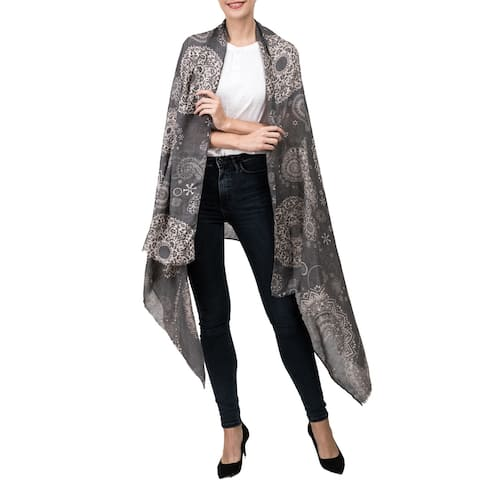 Glitzhome Women's Soft Stripe Lattice Scarf