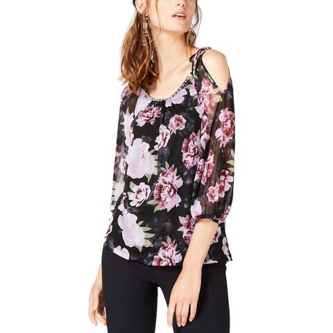 INC International Concepts Women's New Printed Cold-Shoulder Top (XL)