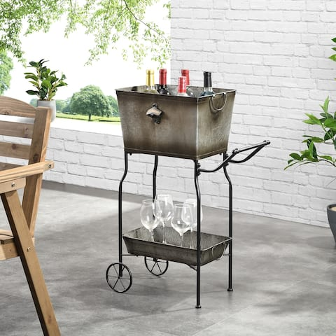 FirsTime & Co. Galvanized Tenney Indoor Outdoor Bar Cart With Drink Tub, Metal