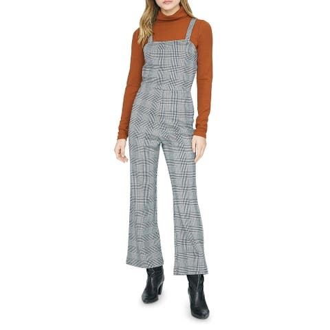 Sanctuary Womens Check You Later Jumpsuit Flare Leg Plaid - Earthstone Check