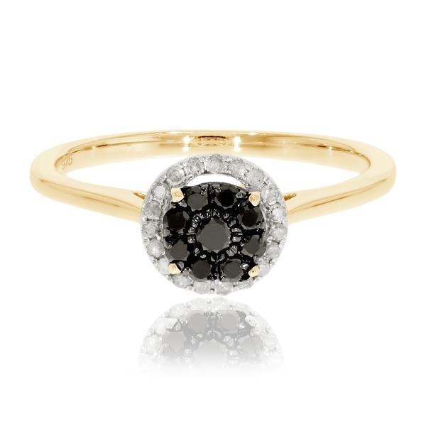 Prism Jewel 0.31 Ctw Black Color Diamond With Natural Diamond Engagement Ring - White I-J