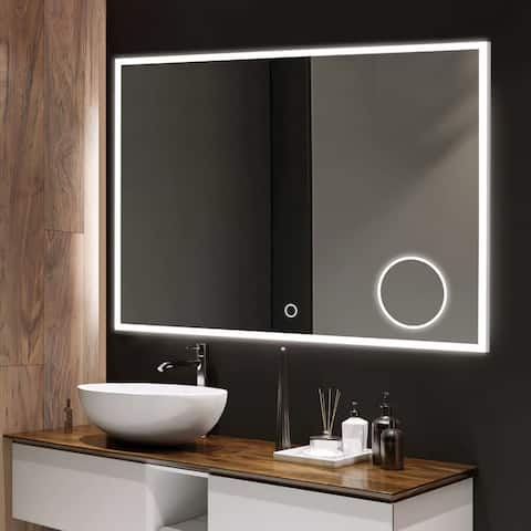 Dimmable Wall-mounted Bathroom Vanity LED light Mirror with Anti-fog - 35.4''x27.6''