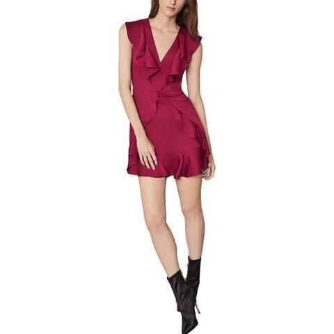 BCBG Max Azria Women's Ruffled Sleeveless V-Neck Mini Dress - Deep Red