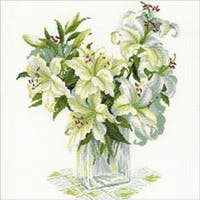 """White Lilies Counted Cross Stitch Kit-17.75""""X17.75"""" 14 Count"""