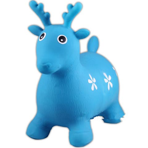 Little Fawn Hopper Ride-on Bouncer Toy Inflatable Toy Toddler Kids Chrismas gift - Blue